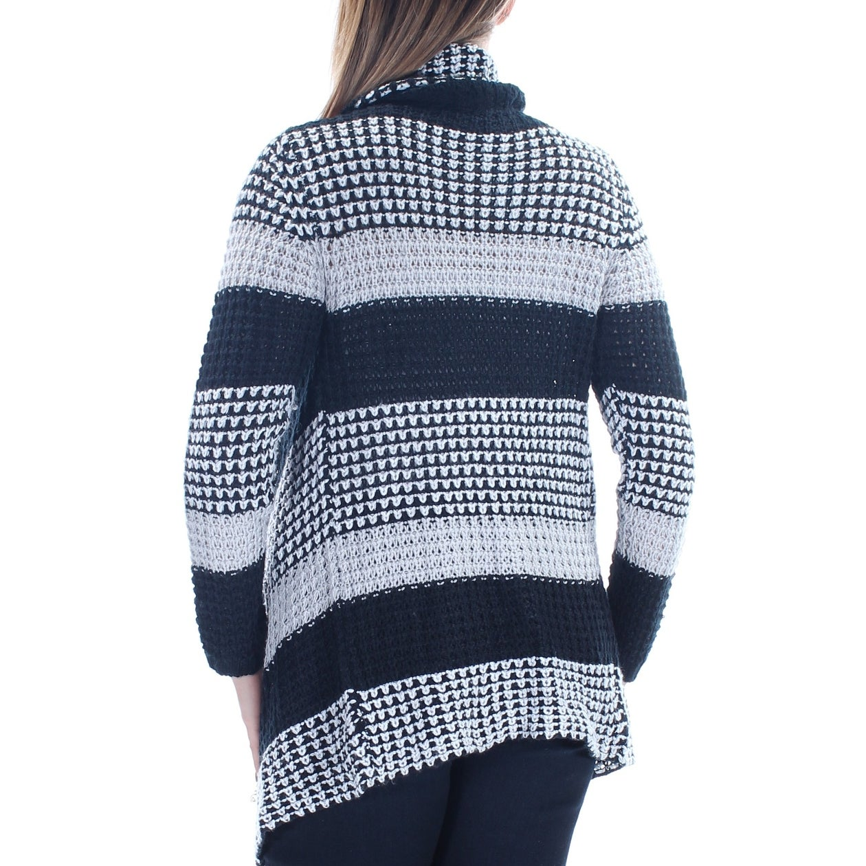 1f9f0f55c1 Shop PLANET GOLD Womens Black Striped Long Sleeve Open Sweater Juniors Size   L - On Sale - Free Shipping On Orders Over  45 - Overstock - 21237691
