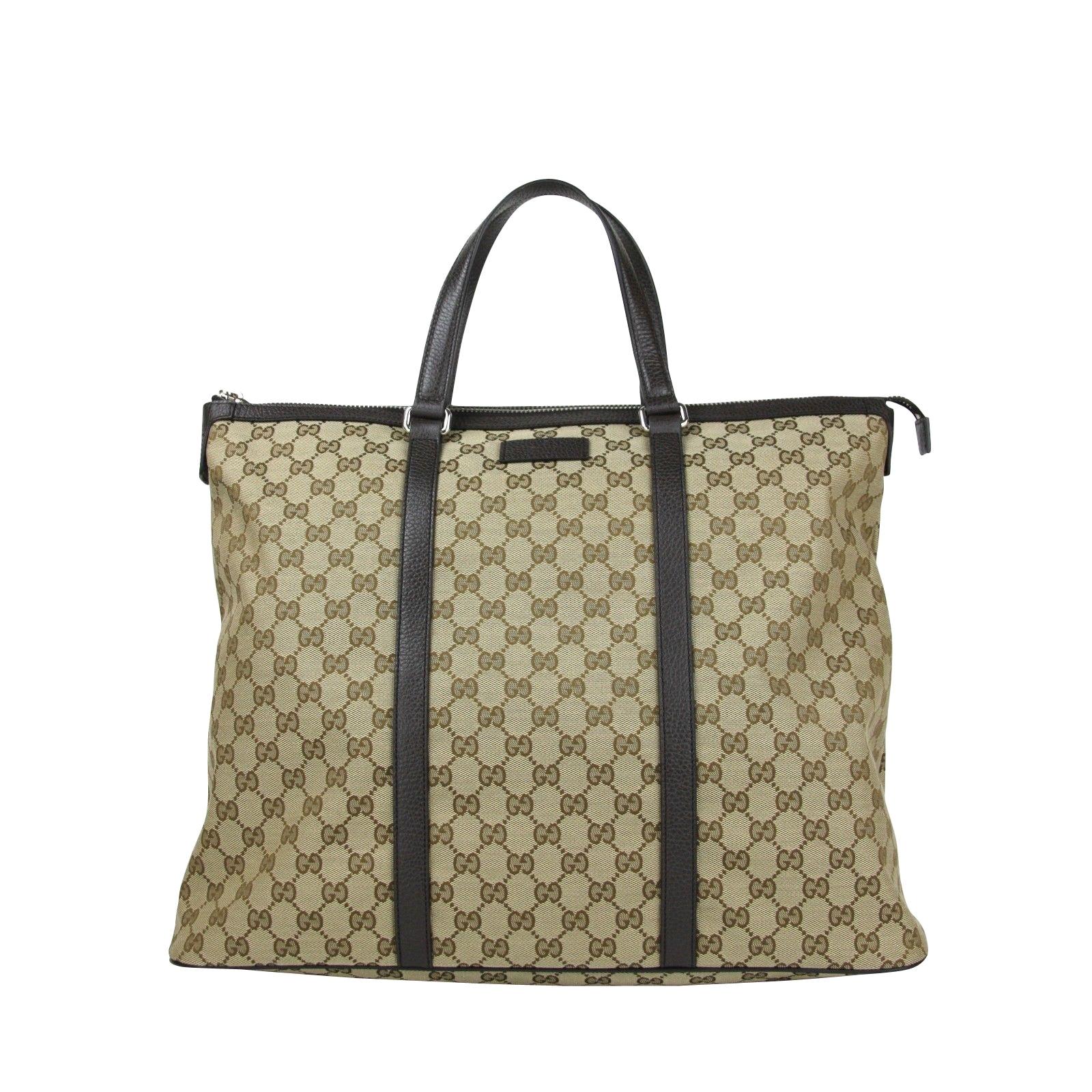 fd0efdc13fb205 Gucci Original GG Beige/Brown Canvas Leather Trim Zip Top Tote Bag 449170  9903 - One size