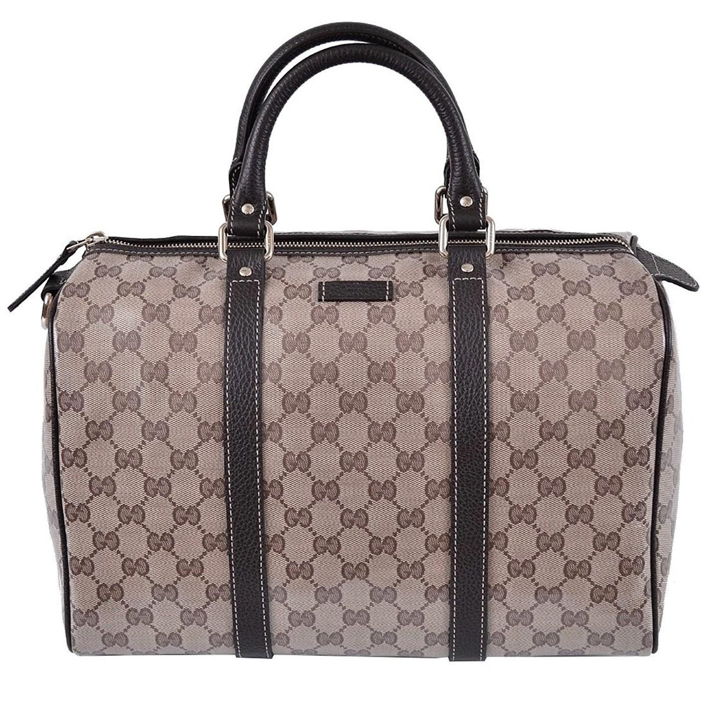 8866fb439 Shop Gucci Brown Crystal GG Canvas & Leather Boston Bag - Free ...