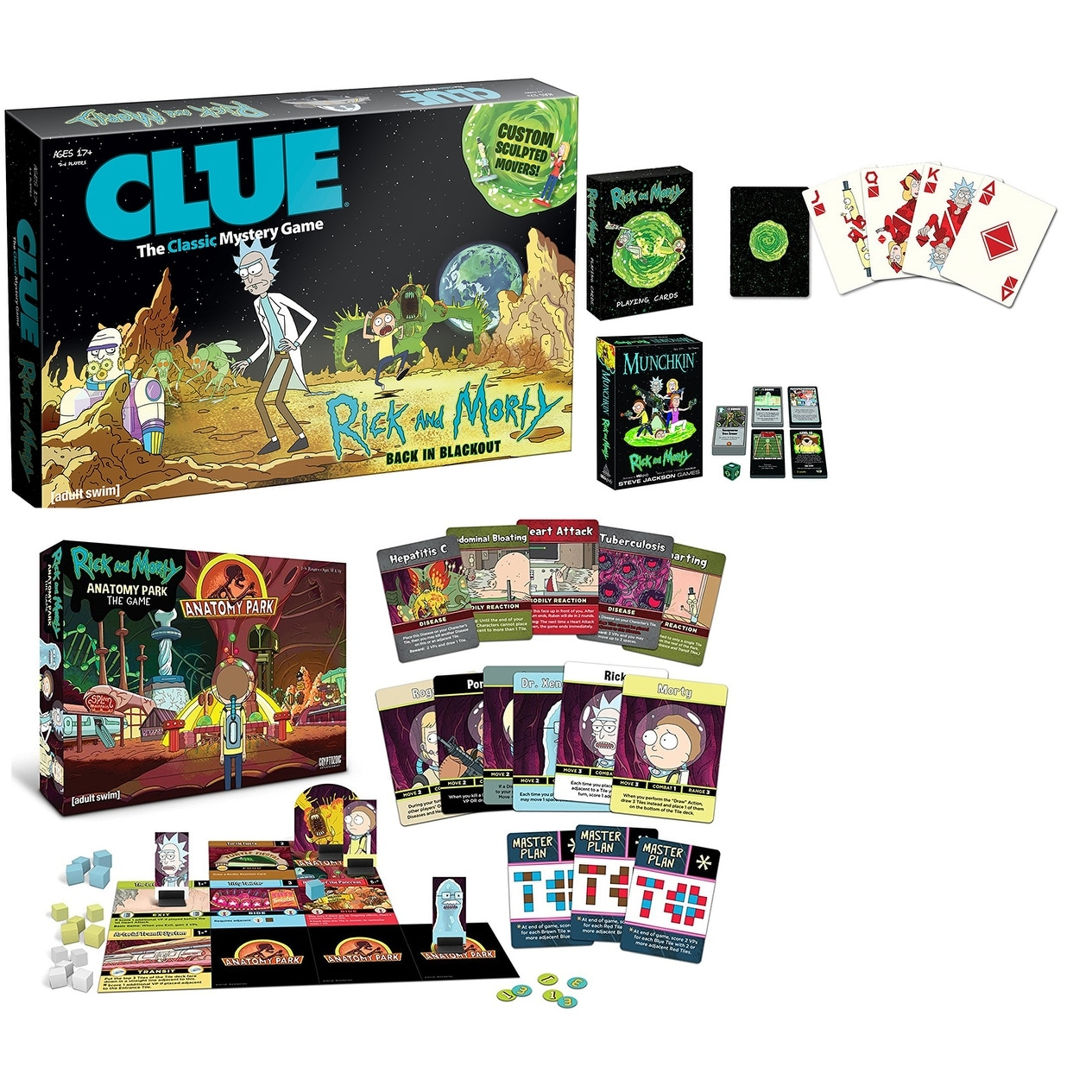 Shop Rick and Morty Game Night Bundle: Anatomy Park, Munchkin, Cards ...
