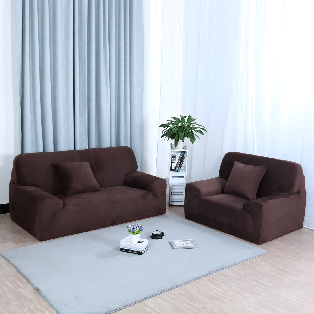 Home 1 2 3 4 Seats Stretch Flannel Sofa Cover Loveseat Slipcovers