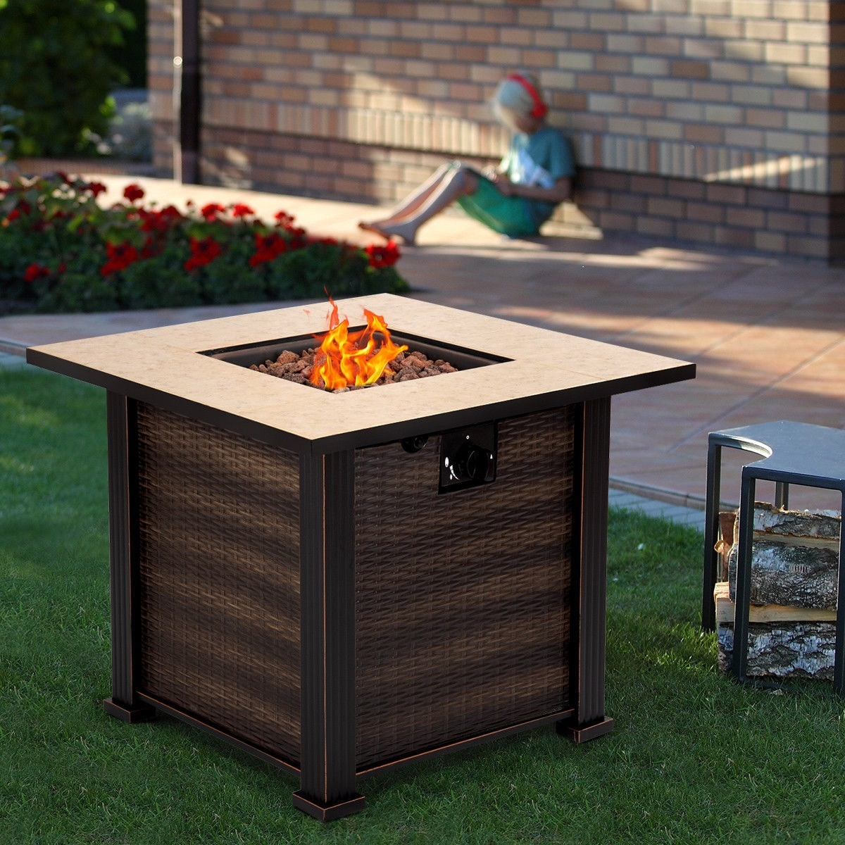 Costway 30 Square Propane Gas Fire Pit 50000 Btus Heater Outdoor Table Fireplace Cover Brown Free Shipping Today 23554029