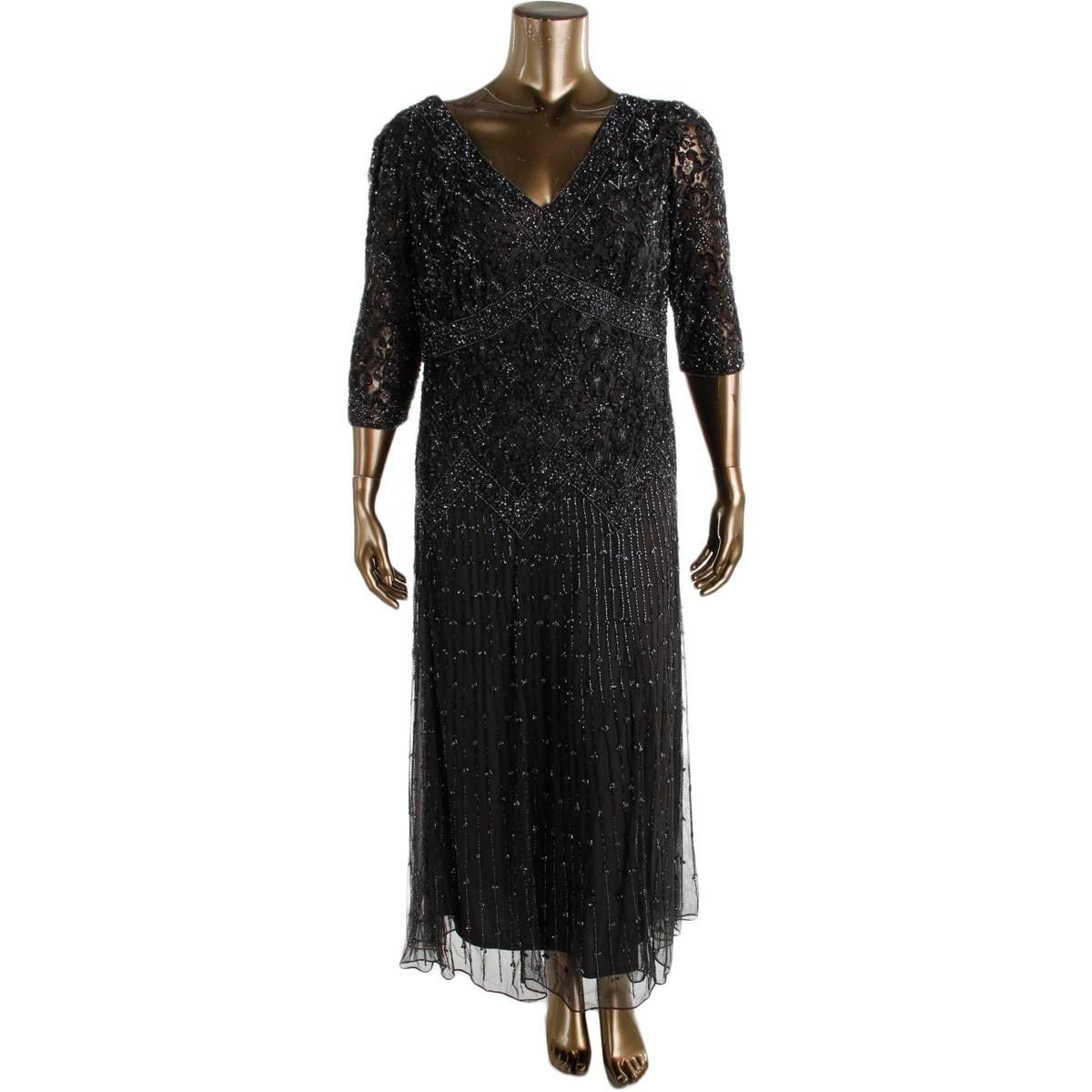 f8d388c8e9e Shop Pisarro Nights Womens Plus Evening Dress Sequined V-Neck - Free ...