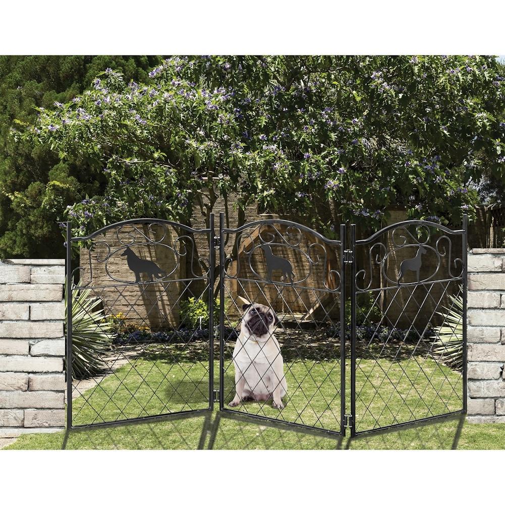 shop metal dog silhouette pet dog gate free standing tri fold 23