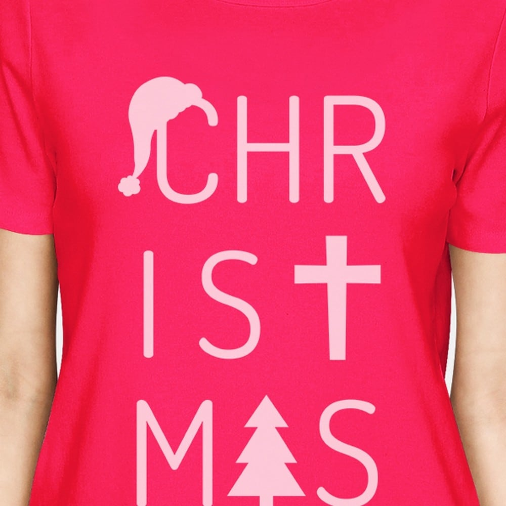 b4bd4dfbf0b Shop Christmas Letters Womens Hot Pink Graphic T-Shirt Short Sleeve Tee -  Free Shipping On Orders Over  45 - Overstock.com - 18503548