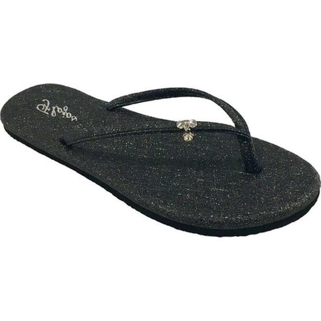 260a300fe15a78 Shop Flojos Women s Lovey Flip Flop Black Glitter PU - On Sale - Ships To  Canada - Overstock.ca - 18818609