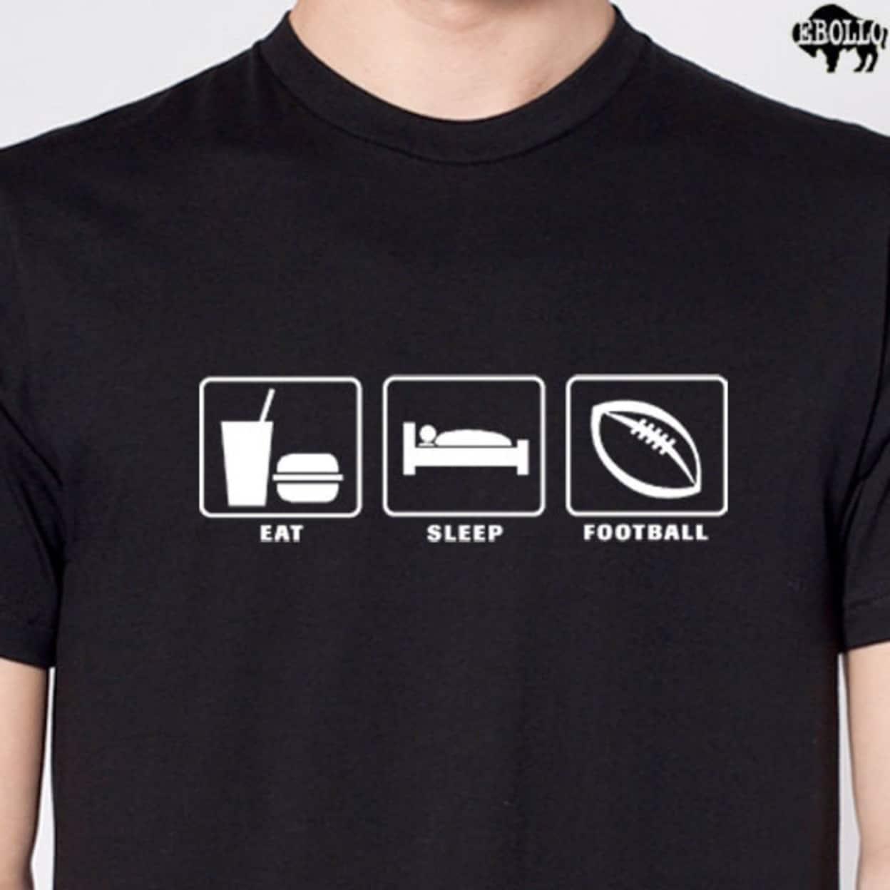 Eat Sleep Football Men\'s Cool T-Shirt Design Funny Tees Sports Tee