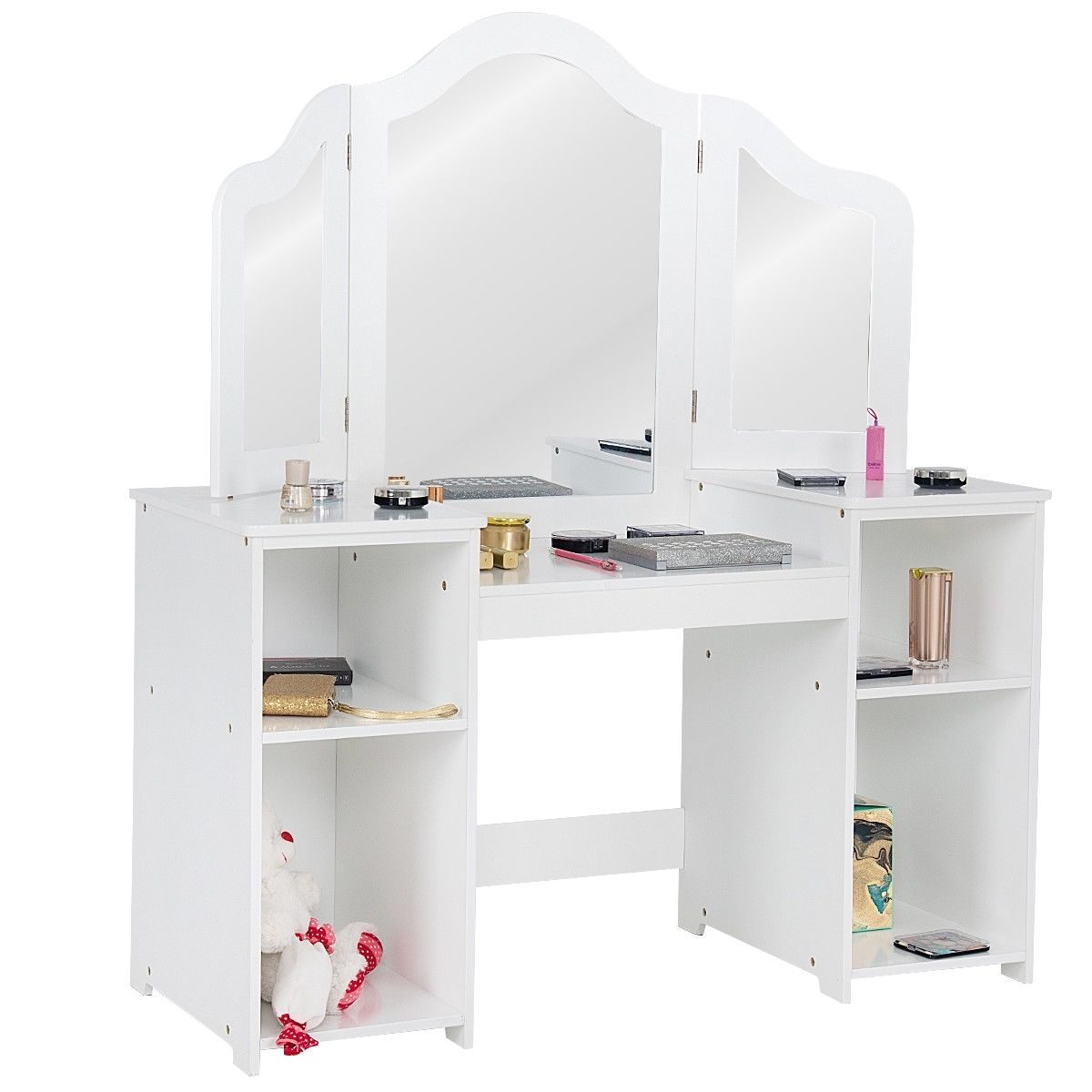 Attirant Shop Costway Vanity Table Set Makeup Dressing Kids Girls Study Table Tri  Folding Mirror   Free Shipping Today   Overstock   23602187