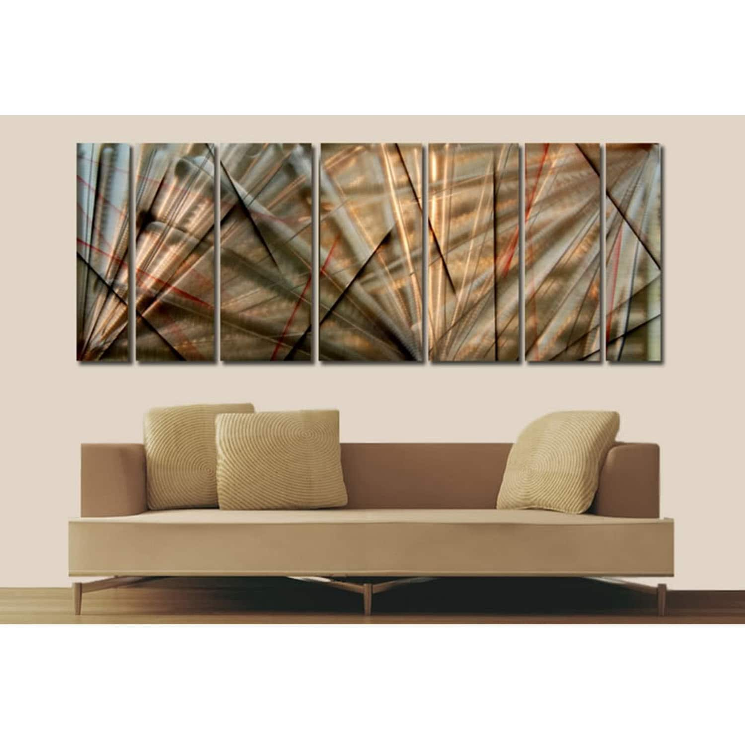 Statements2000 Gold Red Earth Tones Abstract Metal Wall Art Panels By Jon Allen Meteor Eclipse On Free Shipping Today