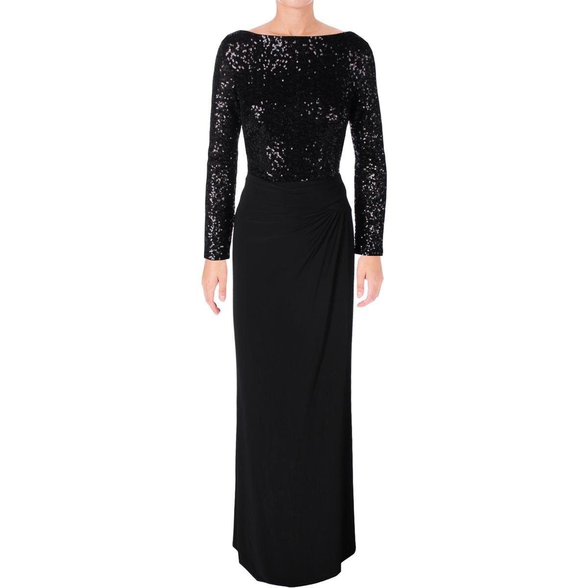 Shop Lauren Ralph Lauren Womens Oleanne Evening Dress Sequined Long ...