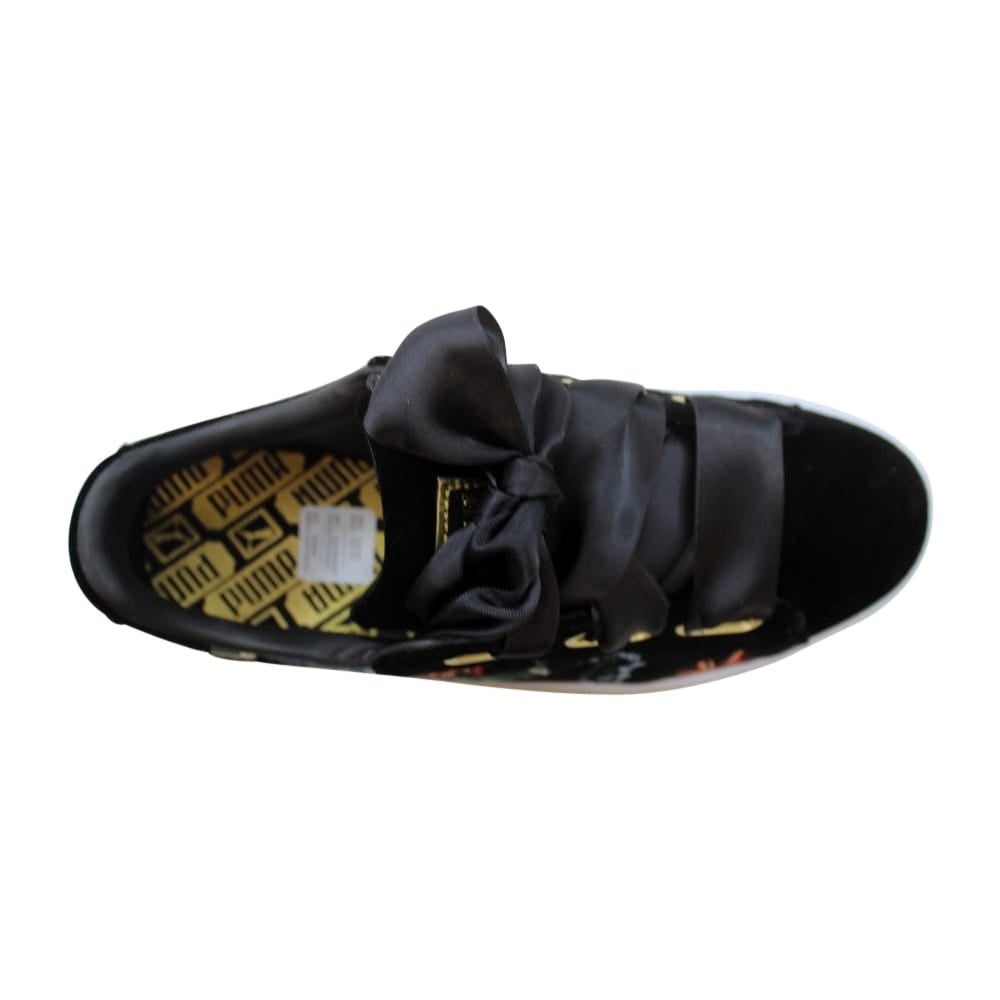 new product b5beb 2eb25 Puma Basket Heart Hyper Embroidered Puma Black Women's 366116 01 Size 6  Medium