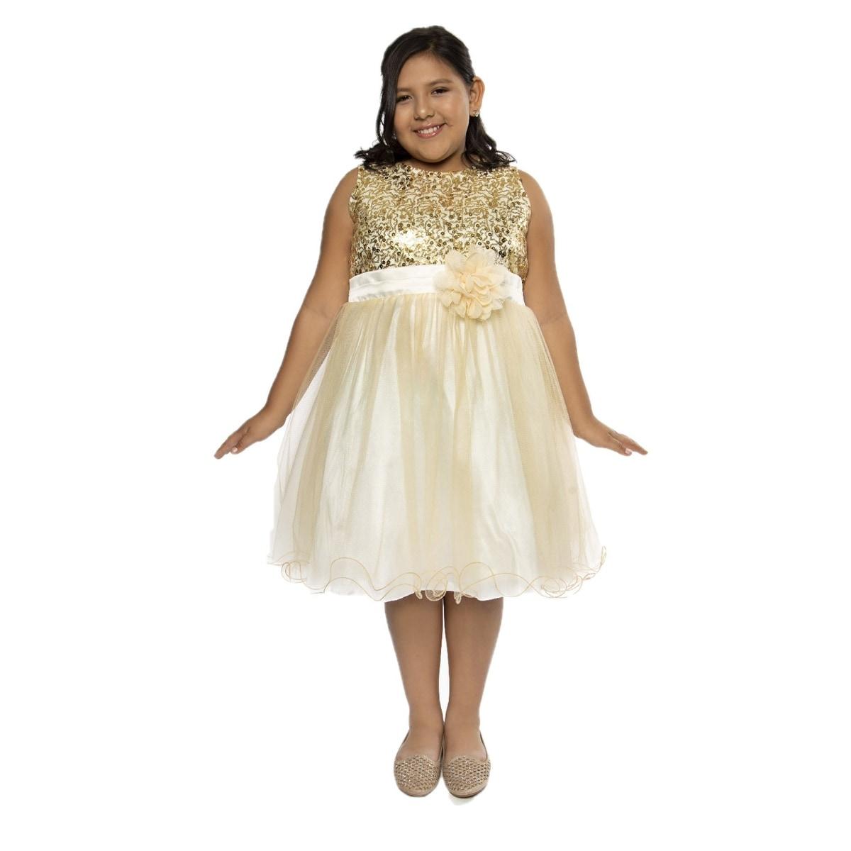 Shop Kids Dream Girls Gold Sequin Plus Size Junior Bridesmaid Dress ...