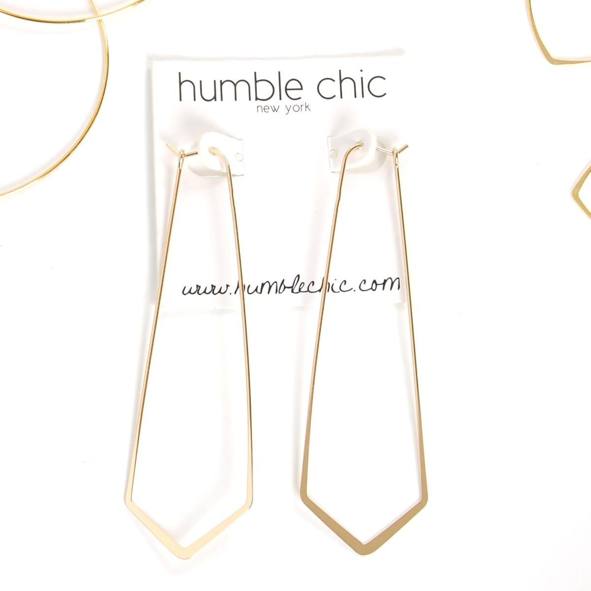 7d569fb3bb41e Humble Chic Geometric Chevron Threader Hoop Earrings - Lightweight Cutout  Thin Wire Drop Dangles