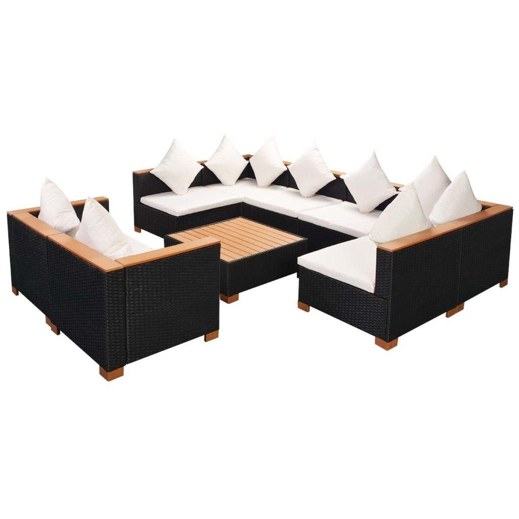 Shop Vidaxl 27 Piece Garden Lounge Set Poly Rattan Wpc Top Black