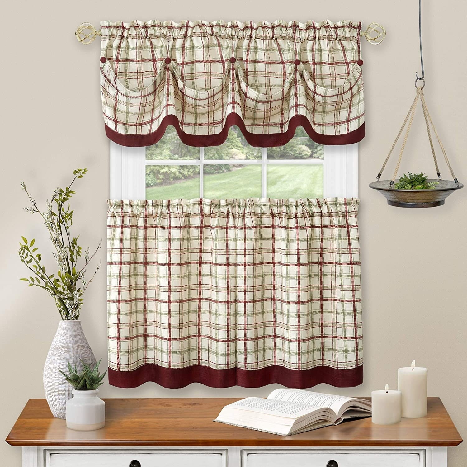 Tattersall Window Kitchen Curtain Tier And Valance Set Tier 58x36 Inches Valance 58x14 Inches Overstock 31493296
