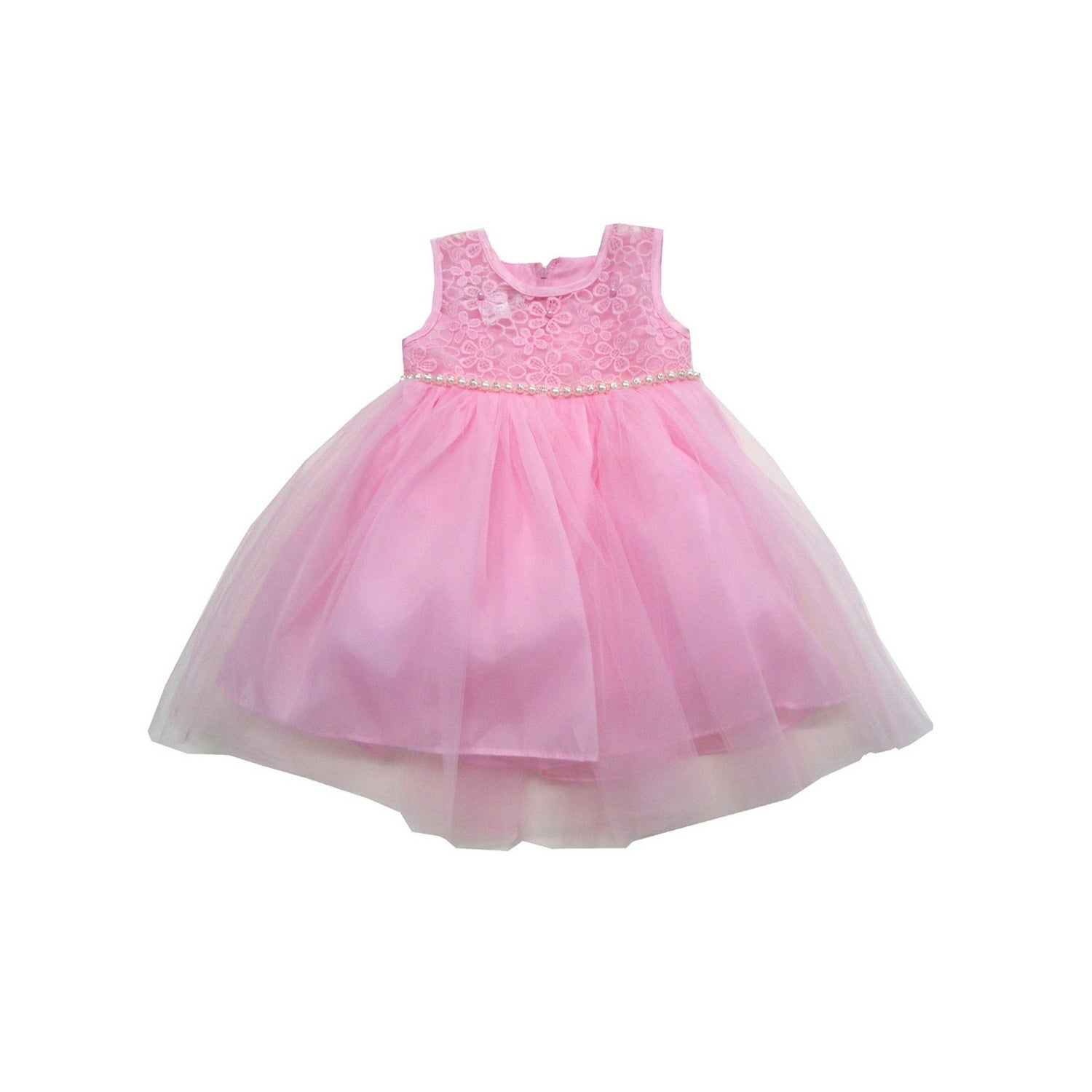 Shop Little Girls Pink Embroidered Tulle Sparkle Trim Flower Girl Dress - Free Shipping On Orders Over $45 - Overstock - 24220785