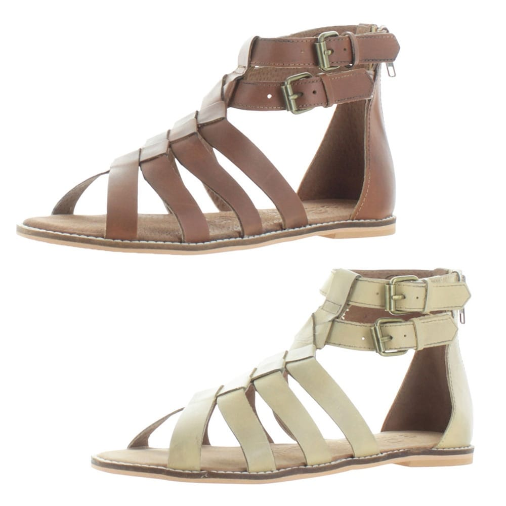 baa05bd315e4 Shop Naughty Monkey Cilani Women s Leather Woven Gladiator Flat Sandals  Buckle - Free Shipping On Orders Over  45 - Overstock - 16202078