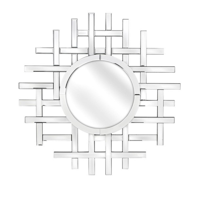 315 Metallic Silver Colored Geometric Designed Decorative Wall Mirror