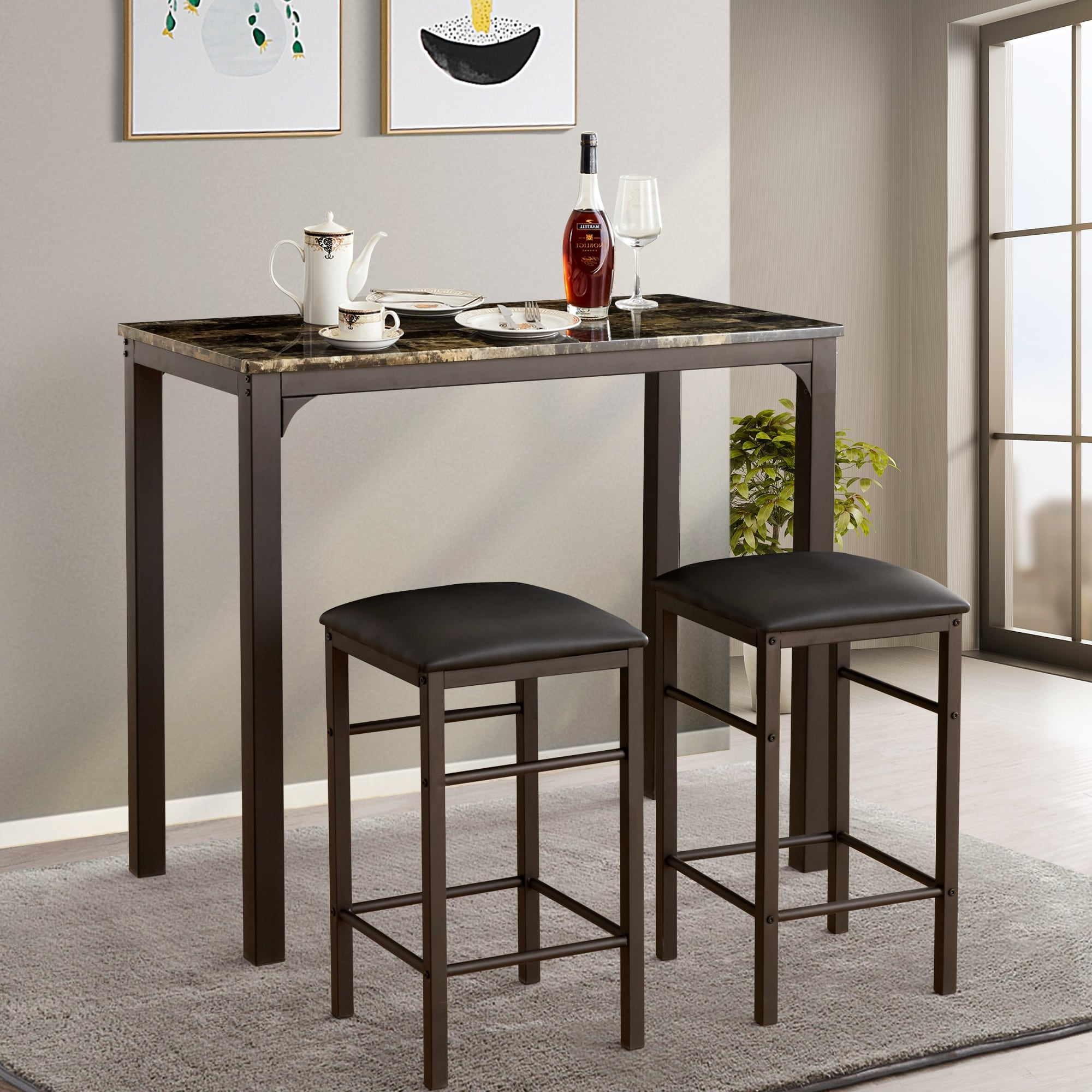 Vecelo home kitchen bar table sets counter dining table sets 3pcs