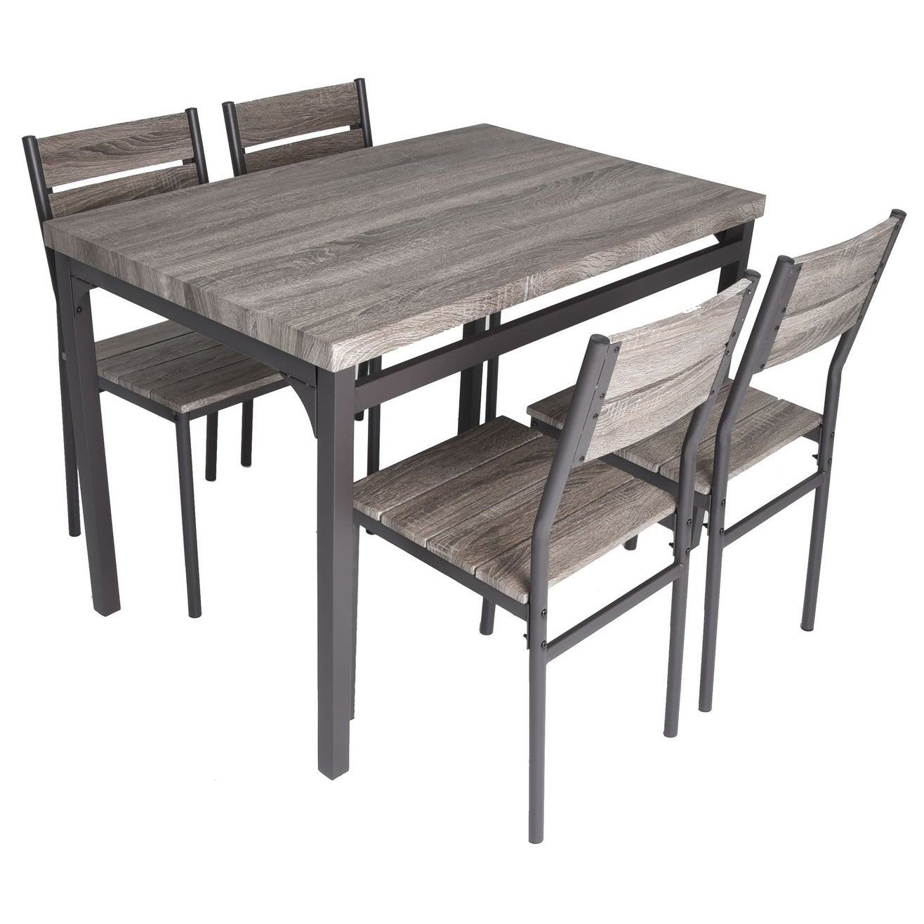 Zenvida 5 Piece Dining Set Rustic Grey Wooden Kitchen Table and 4 ...