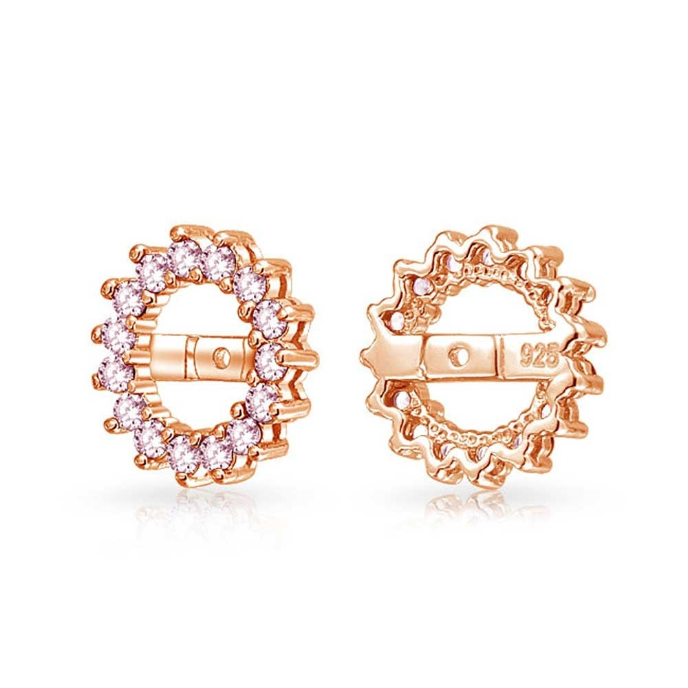 9fed41b42 Shop Cubic Zirconia CZ Round Halo Earrings Jackets For Studs in Rose Gold  Plated 925 Sterling Silver (Earrings not included) - On Sale - Free  Shipping On ...