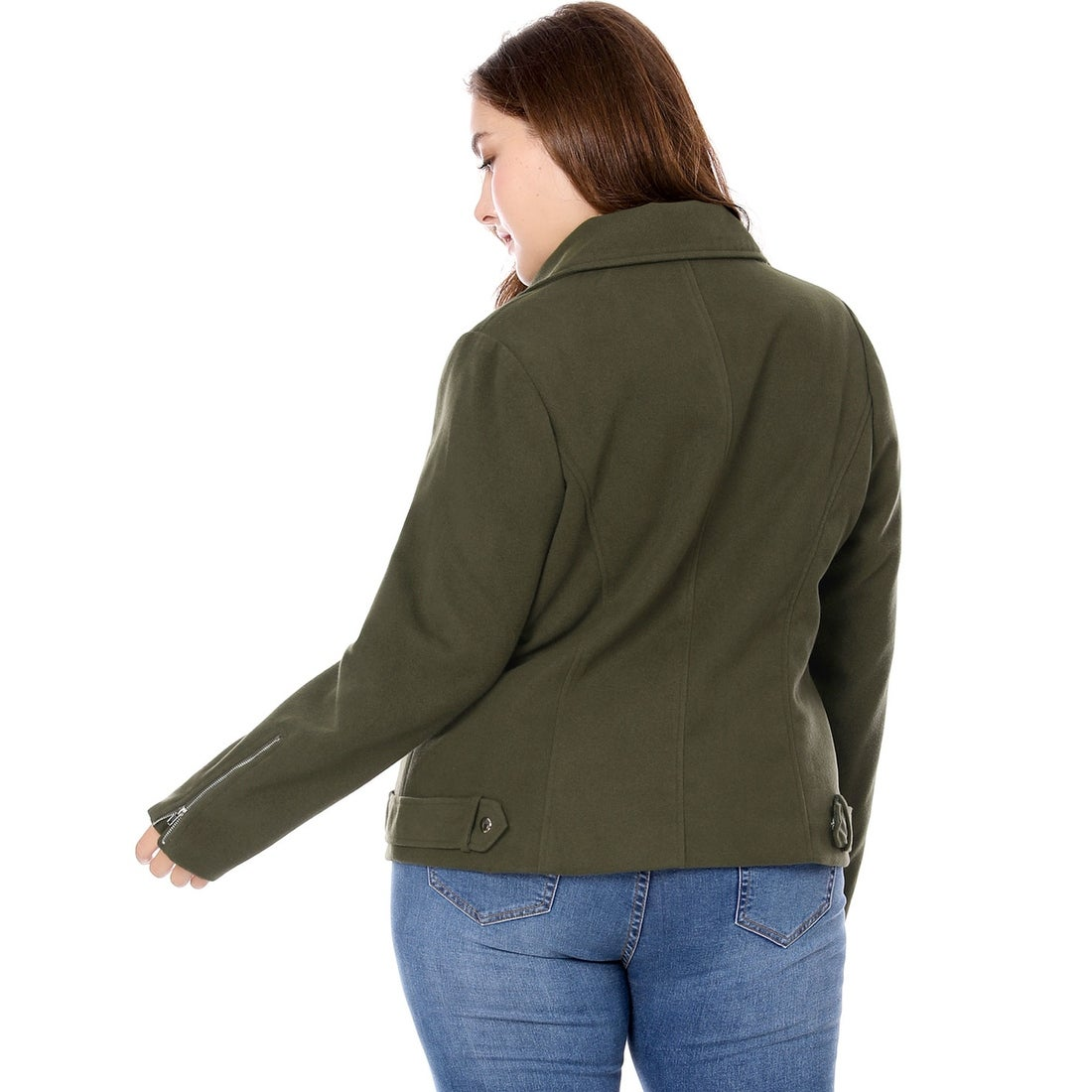 98597d4b355 Shop Allegra K Women Plus Size Convertible Collar Inclined Zip Closure Moto  Jacket - Green - On Sale - Free Shipping Today - Overstock - 21160777