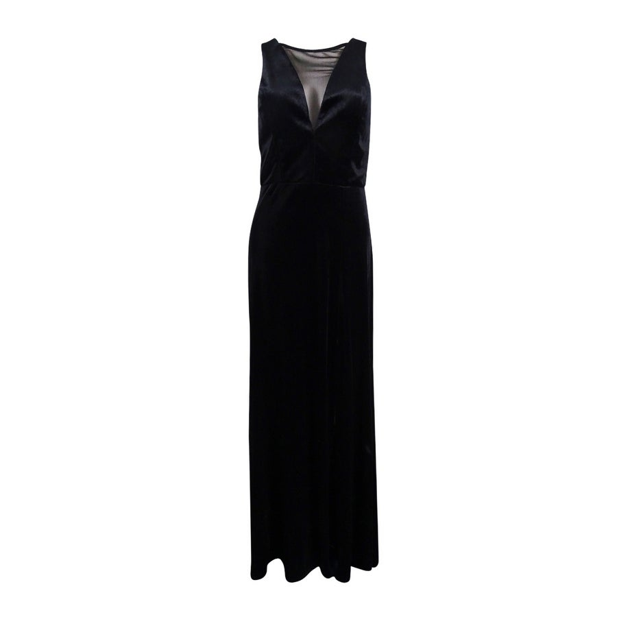 Shop Nightway Women\'s Plunging Illusion Velvet Gown - On Sale - Free ...