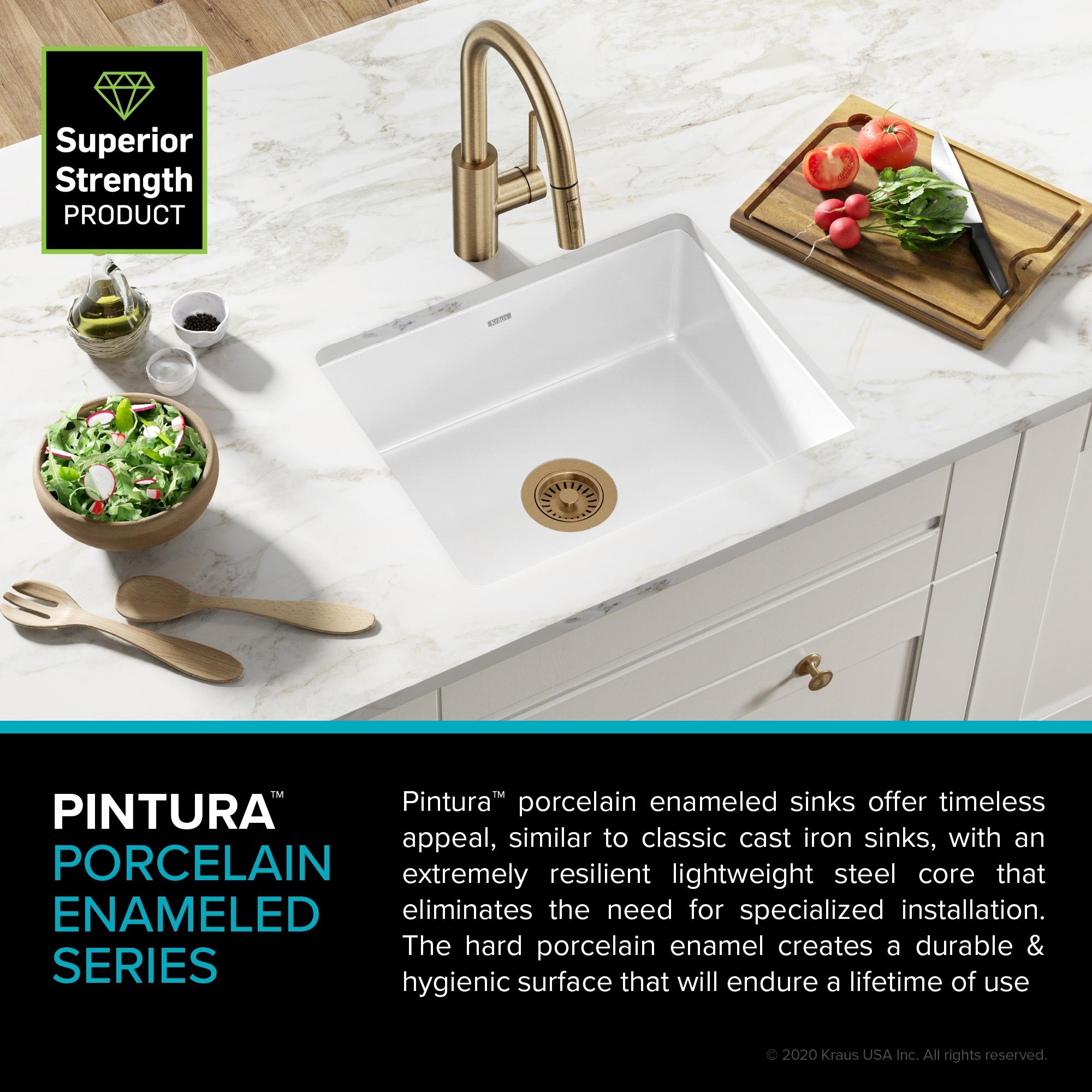 KRAUS Pintura Porcelain Enameled Steel 8 inch Undermount Kitchen Sink