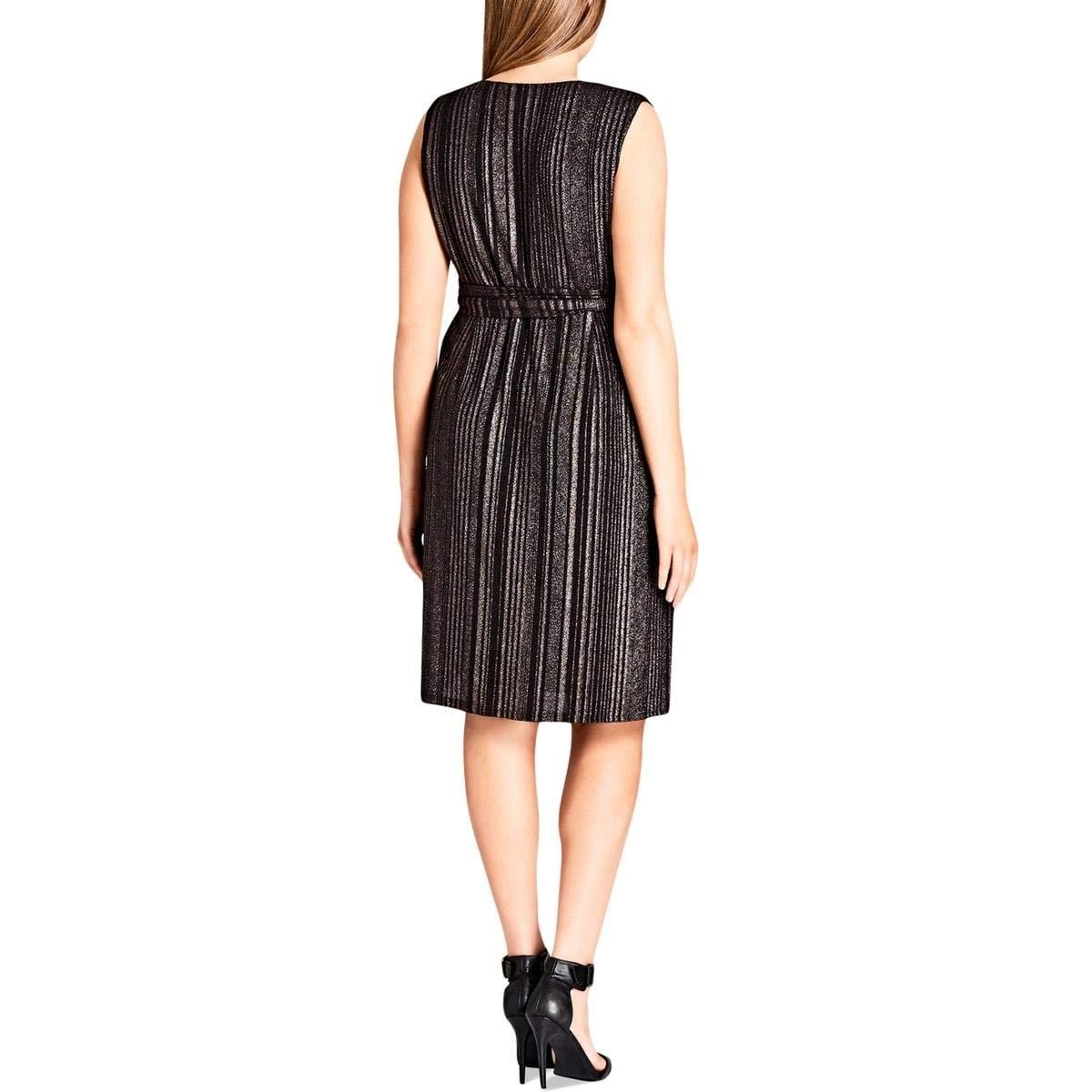 1f653f5ea3 Shop City Chic Black Womens XL 22 Plus Metallic Tie-Waist Sheath Dress - On  Sale - Free Shipping On Orders Over  45 - Overstock - 27342179