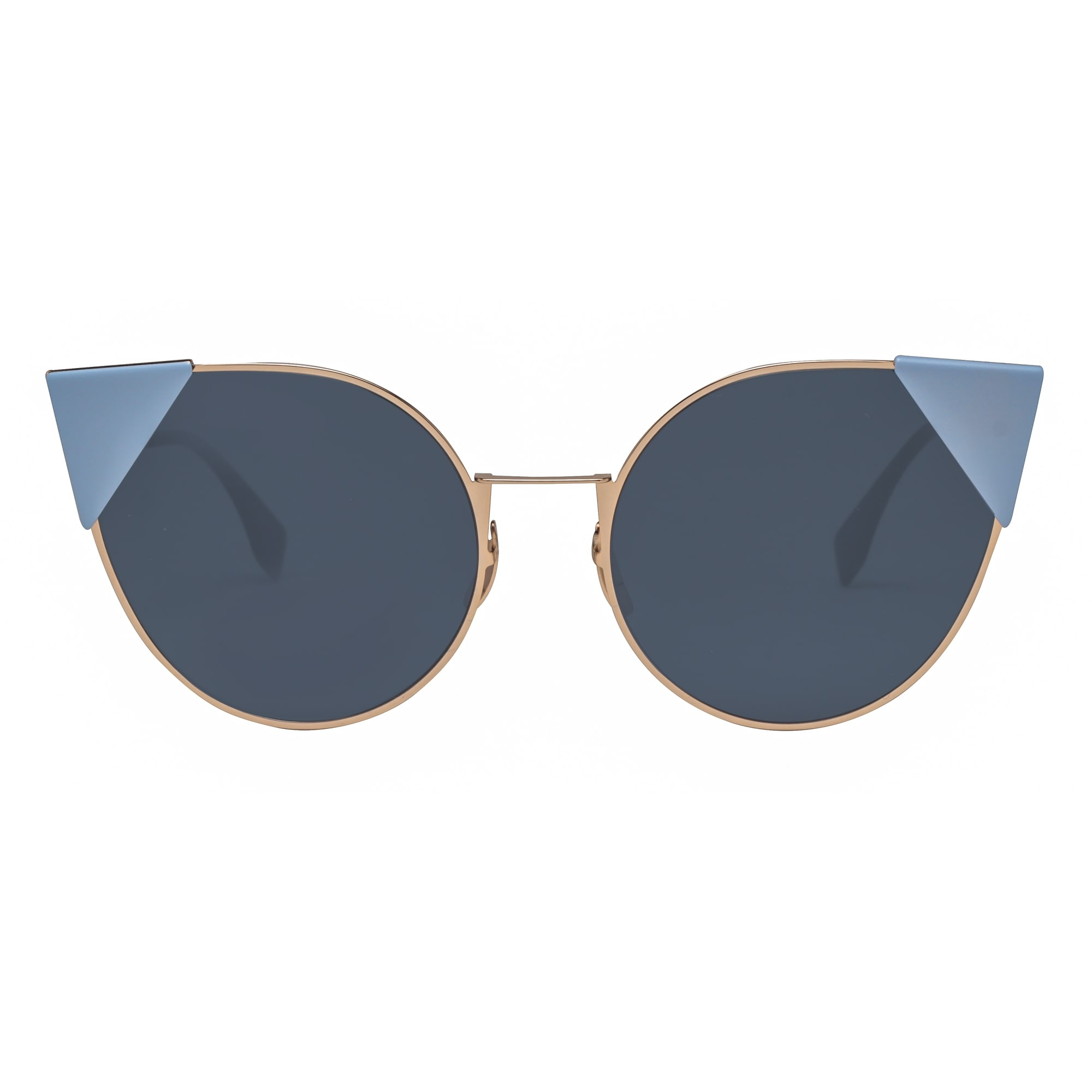 6743f26c9e Shop Fendi FF 0190 S 000A9 Lei Rose Gold Blue Round Cat Eye Sunglasses -  rose gold - 57mm-19mm-140mm - Free Shipping Today - Overstock - 18656405