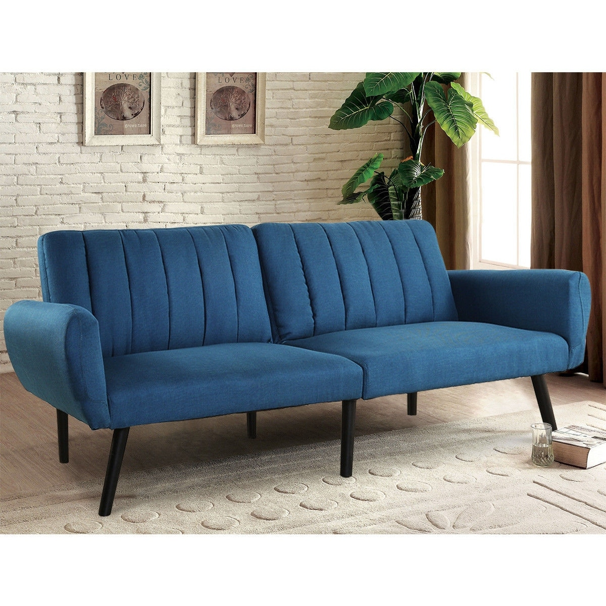 Costway Sofa Futon Bed Sleeper Couch Convertible Mattress Premium Linen Upholstery Blue On Ships To Canada Ca 20708422