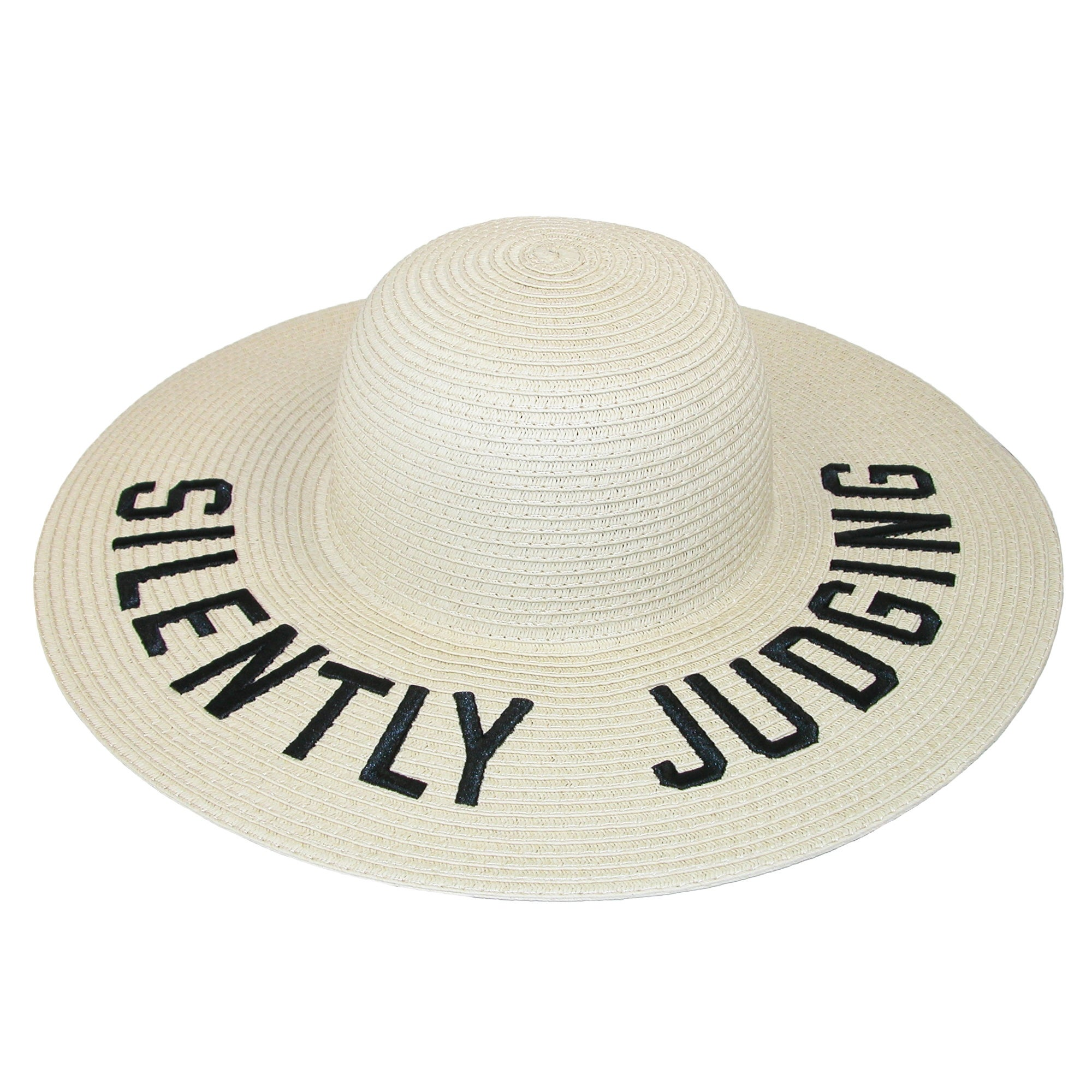 1dd7fc016 David & Young Silently Judging Embroidered Straw Floppy Hat