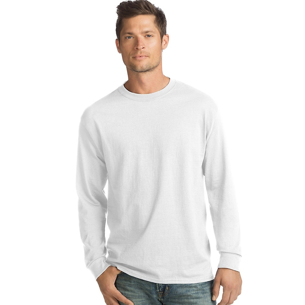 553f93a36db Shop Hanes ComfortSoft® Men's Long-Sleeve T-Shirt 4-Pack - Color - White -  Size - S - Free Shipping On Orders Over $45 - Overstock - 24091213