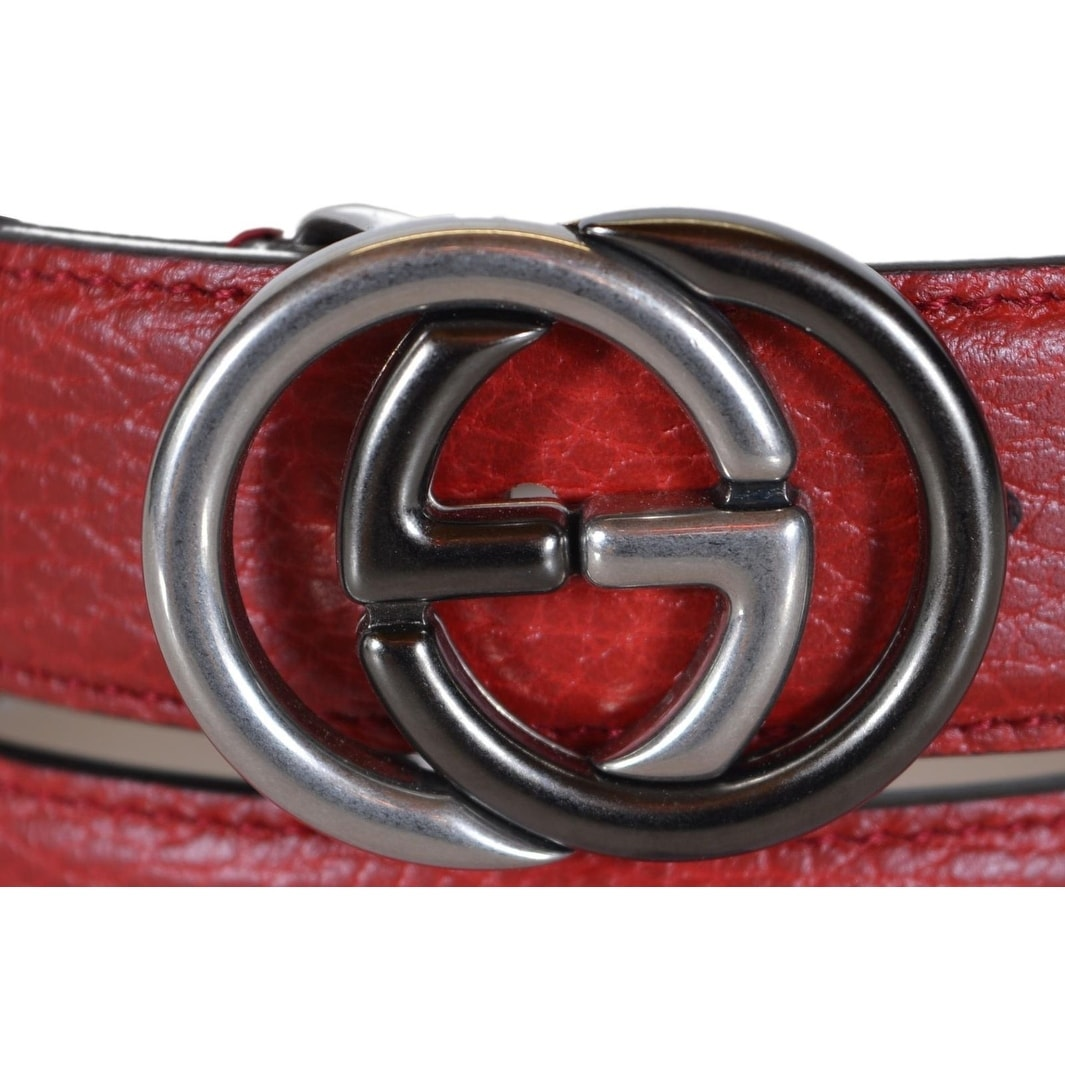 7ed6521c707 Shop Gucci Men s 295704 Red Leather Interlocking 2 Tone GG Buckle Belt 38  95 - Free Shipping Today - Overstock - 20465293