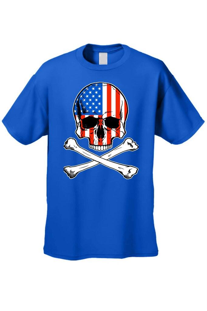 cecc6eabf230 Shop Men's T-Shirt USA Flag Skull Crossed Bones American Pride  Stars/Stripes Patriotic - Free Shipping On Orders Over $45 - Overstock -  11599644