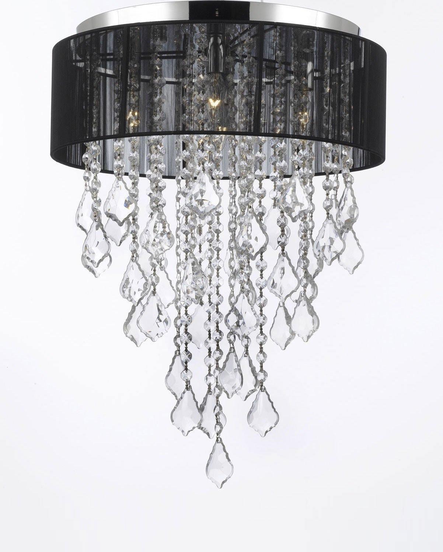 flush mount crystal chandelier. Flush Mount 4 Light Chrome \u0026 Black Shade Crystal Chandelier Lighting - Free Shipping Today Overstock 18581741