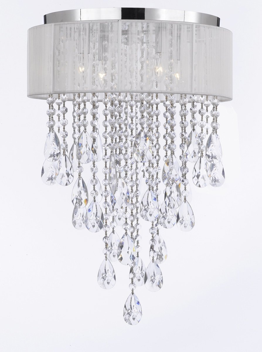 Flush Mount 4 Light Chrome White Shade Empress Crystal Chandelier Lighting Free Shipping Today 11650325