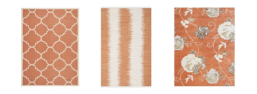 Three different types of orange rugs including a trerracotta indoor/outdoor rug, an orange and white stripped rug, and a orange floral print rug
