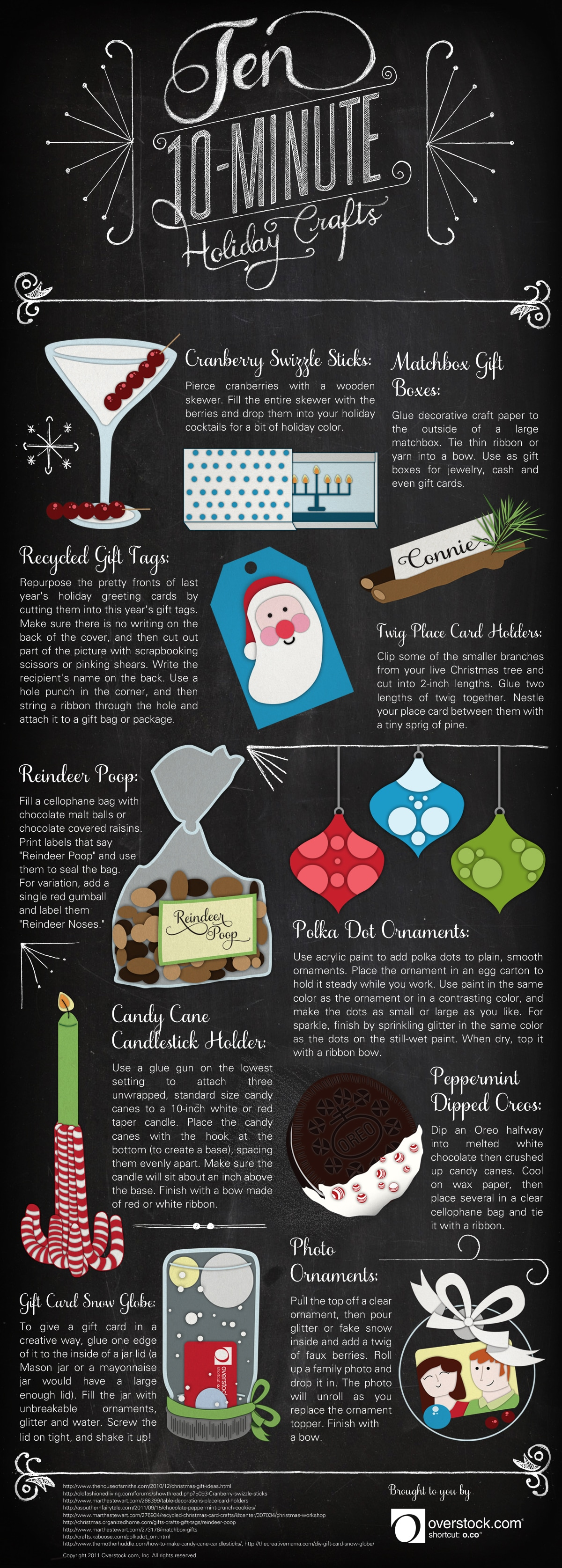 Ten 10-minute Holiday Crafts infographic from O.co
