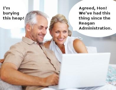 Couple disparaging laptop