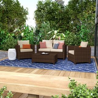 Handy Living Aldrich Dark Brown 4-piece Wicker Indoor/Outdoor Seating Grouping