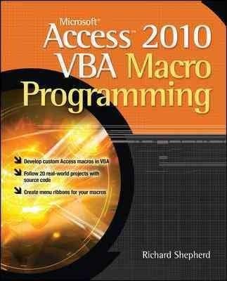 Microsoft Access 2010 VBA Macro Programming (Paperback)