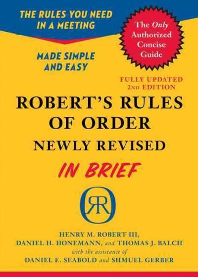 Robert's Rules of Order: In Brief, Updated to Accord With the Eleventh Edition of the Complete Manual (Paperback)