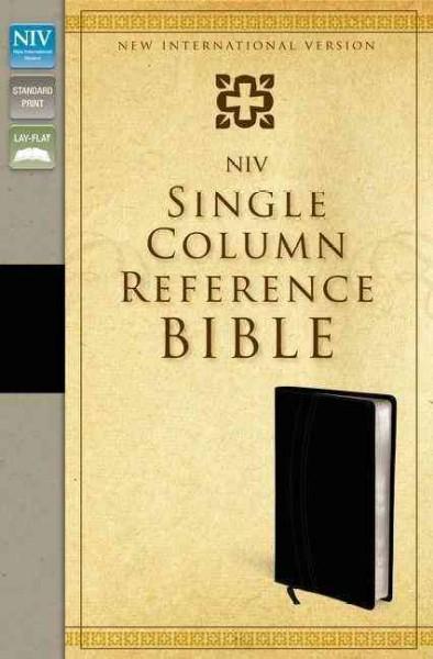 Holy Bible: New International Version, Black / Black Italian Duo-Tone Single-Column Reference Bible (Paperback)