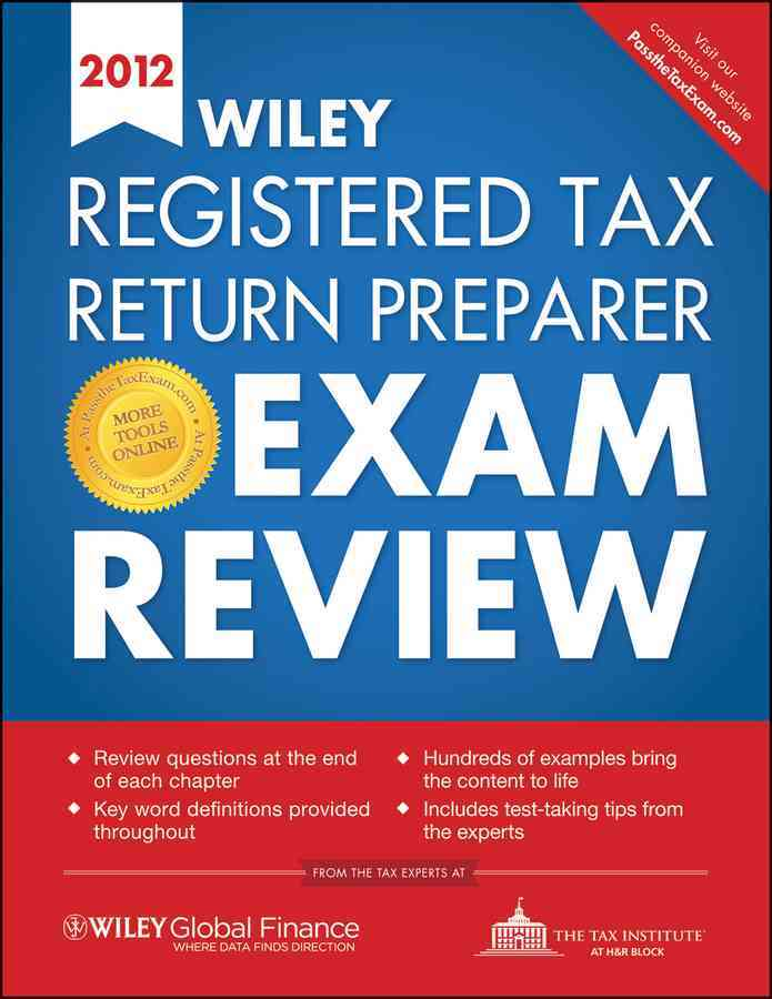 Wiley Registered Tax Return Preparer Exam Review:Wiley Registered Tax Return Preparer Exam Review 2012(Paperback / softback) - Thumbnail 0