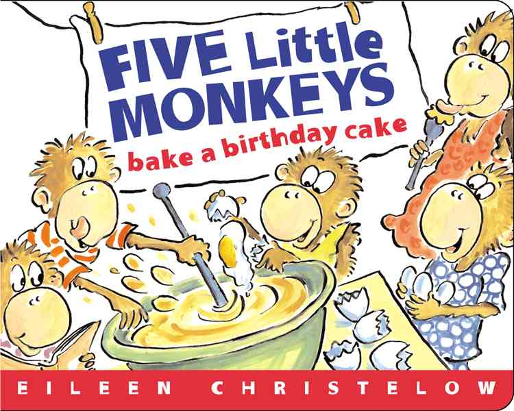 Five Little Monkeys Bake A Birthday Cake (Board book) - Thumbnail 0