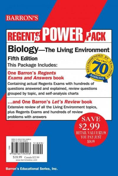 Barron's Regents Power Pack: Biology-The Living Environment (Paperback)