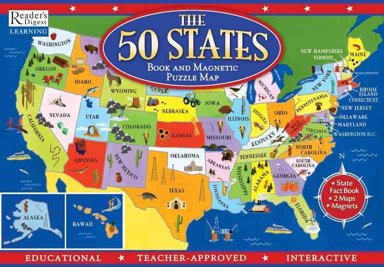 The 50 States Book and Magnetic Puzzle Map