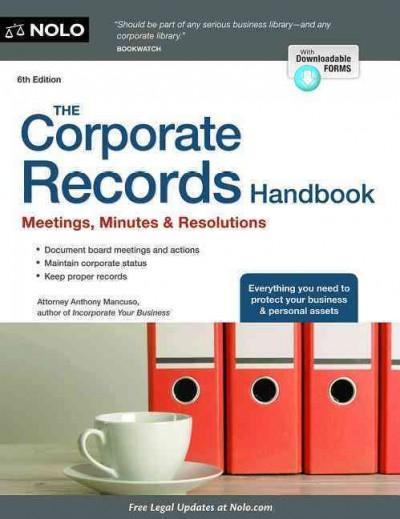 The Corporate Records Handbook + Website: Meetings, Minutes & Resolutions (Paperback)