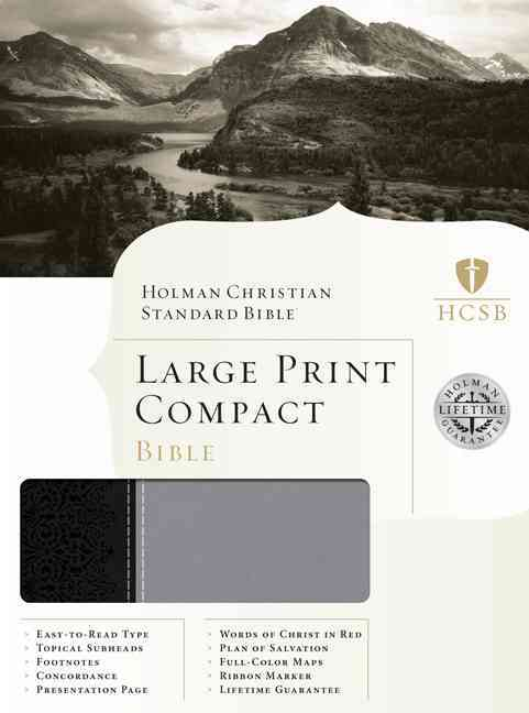 Holy Bible: HCSB Large Print Compact Bible, Black/Gray, Duotone, Reference (Paperback)